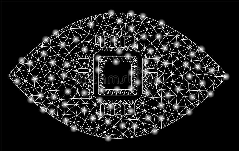 Mesh Wire Frame Artificial Vision brillante con los puntos ligeros stock de ilustración