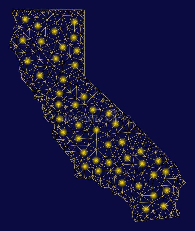 Mesh Wire Frame California Map amarelo com pontos do alargamento ilustração do vetor