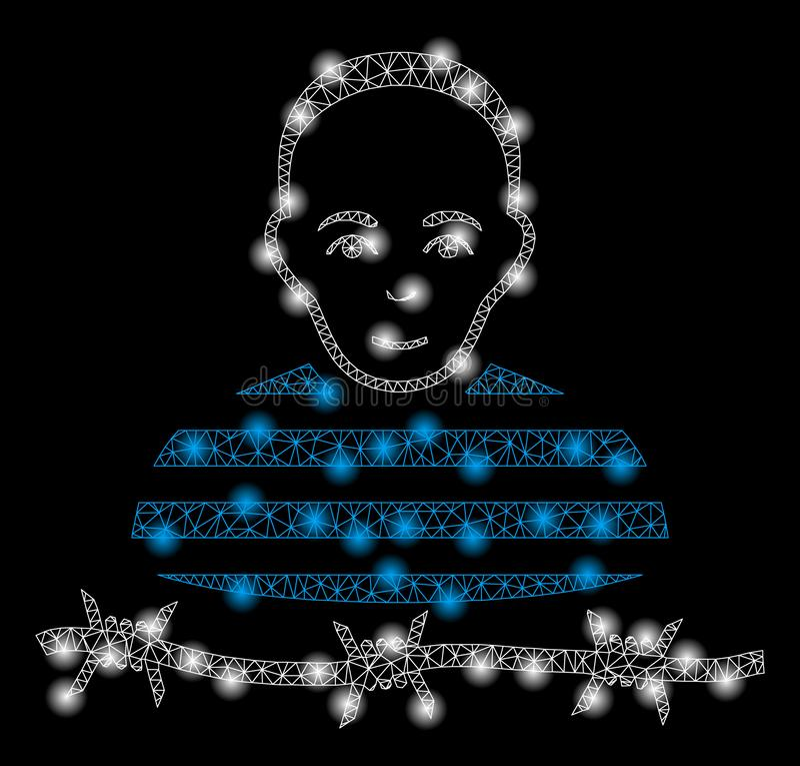 Mesh Wire Frame Camp Prisoner brillante con los puntos ligeros libre illustration