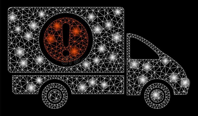 Mesh Wire Frame Dangerous Truck intelligent avec des taches de fusée illustration libre de droits