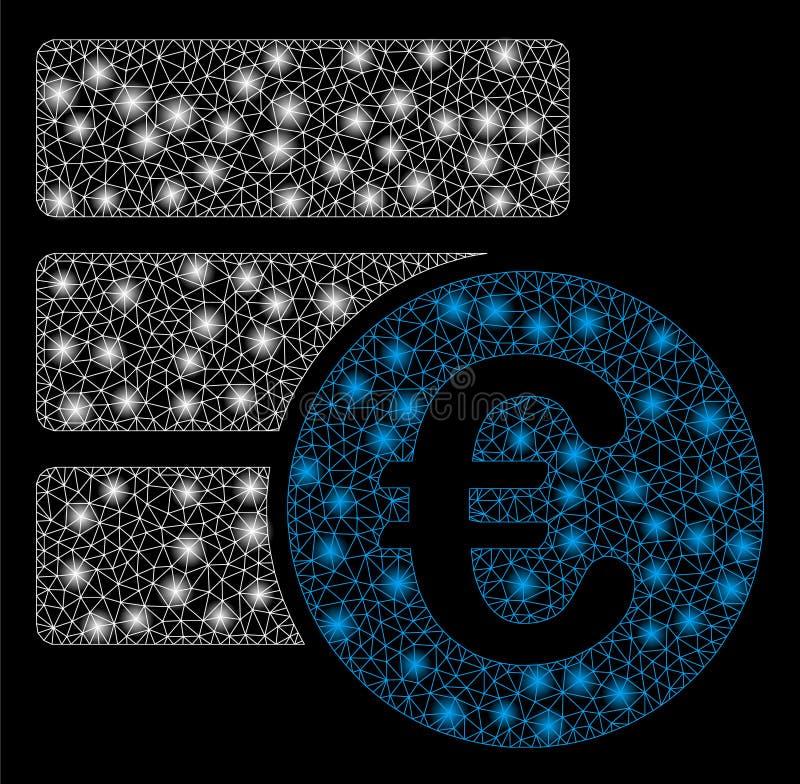 Mesh Wire Frame Euro Database brilhante com pontos do alargamento ilustração stock