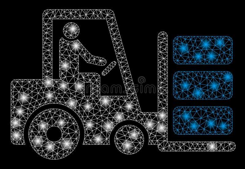 Mesh Wire Frame Forklift rougeoyant avec les taches lumineuses illustration libre de droits