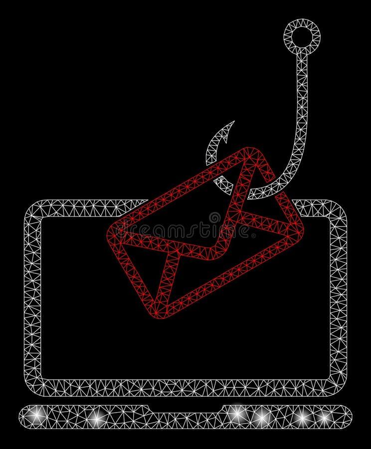 Mesh Wire Frame Laptop Mail rougeoyant Phishing avec des taches de fusée illustration de vecteur