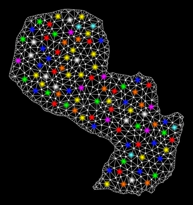 Mesh Wire Frame Map de Paraguay con los puntos ligeros coloridos libre illustration