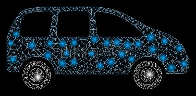 Mesh Wire Frame Minivan lucido con i punti del chiarore illustrazione di stock