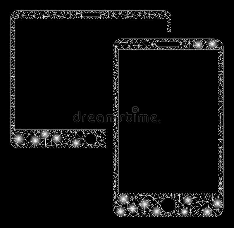 Mesh Wire Frame Mobile Devices brillante con los puntos de destello libre illustration