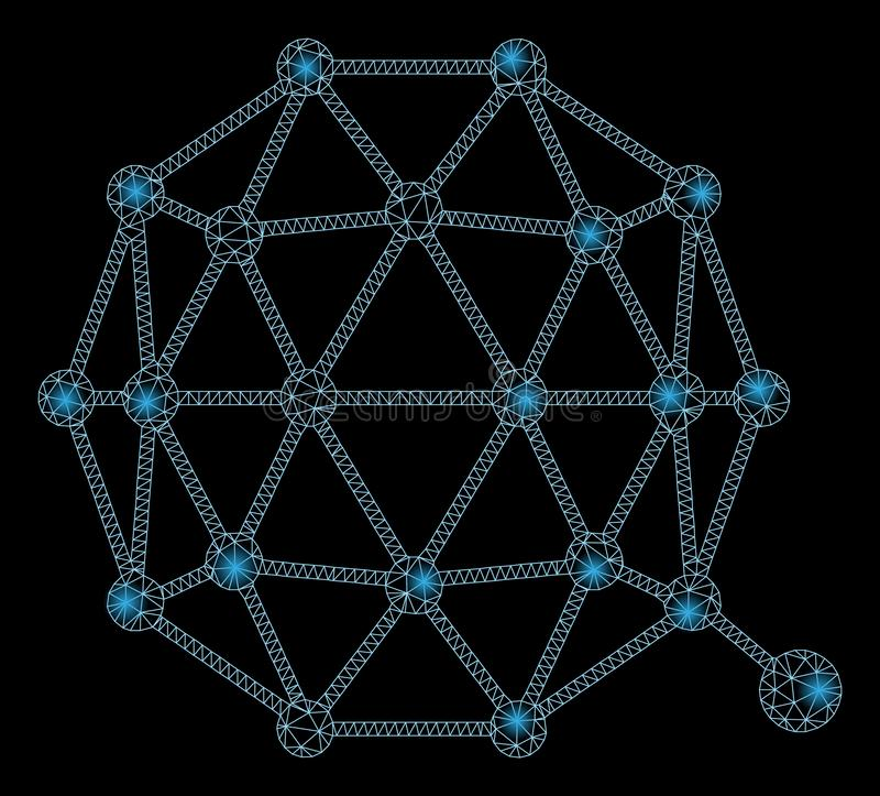 Mesh Wire Frame Qtum Currency lucido con i punti istantanei royalty illustrazione gratis