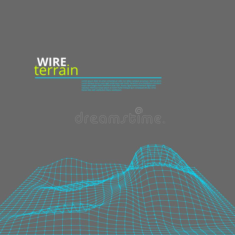 Mesh Wire Polygonal Terrain Surface auf Grau lizenzfreie abbildung