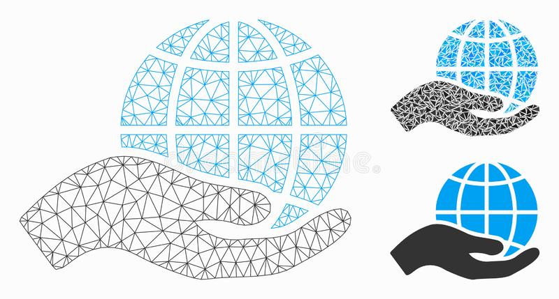 World Class Offer Hand Vector Mesh Wire Frame Model and Triangle Mosaic Icon vector illustration