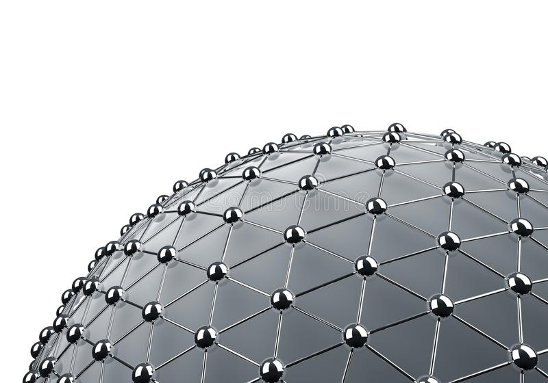 Meshed chrome sphere. 3D background with white copy space royalty free illustration