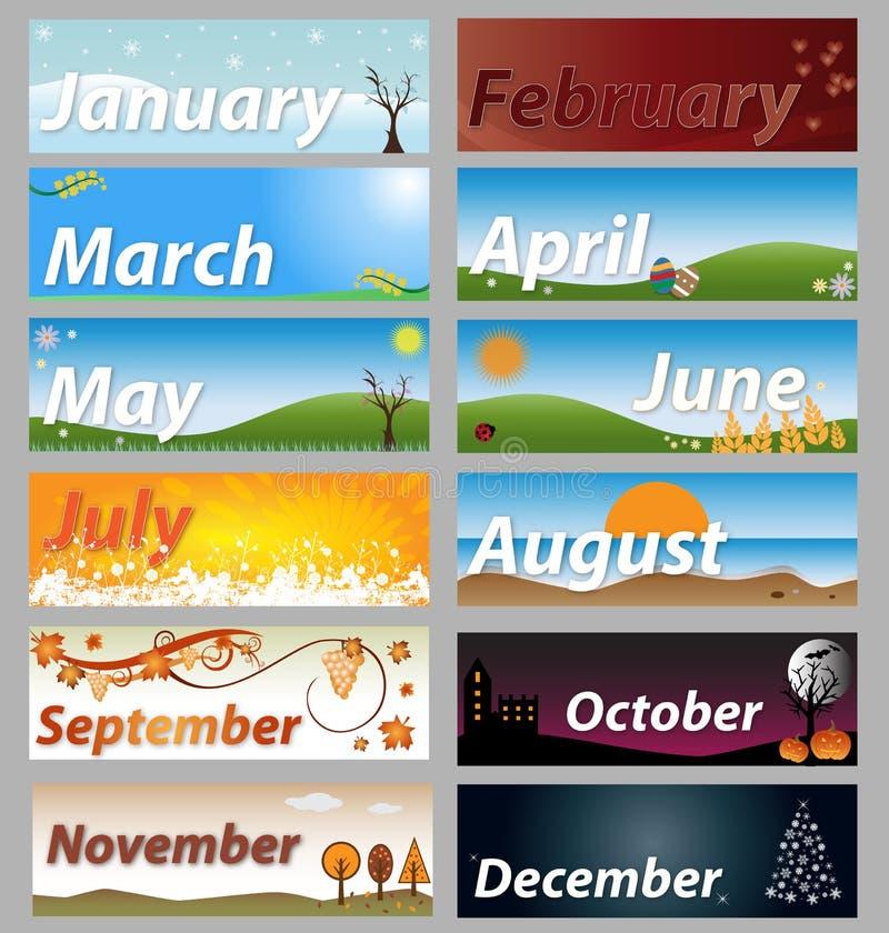 Mesi della bandiera dell'insieme di anno illustrazione di stock