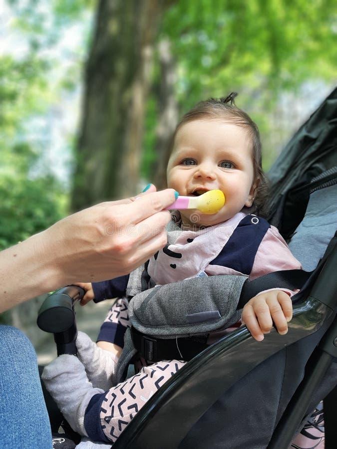 9 mesi della neonata nel cibo del parco fotografia stock