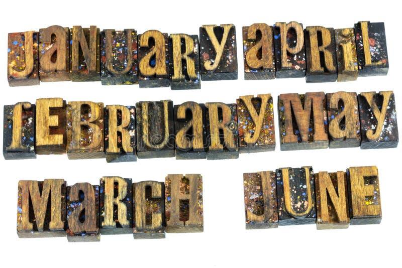 Mesi di tipo di legno calendario dello scritto tipografico fotografie stock
