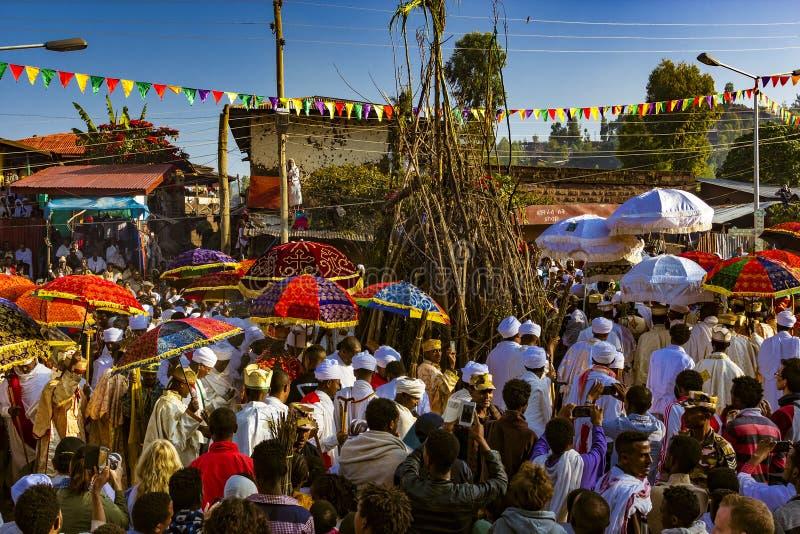 Meskel beröm, Lalibela, Etiopien arkivfoto