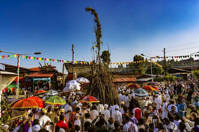 Meskel beröm, Lalibela, Etiopien arkivfoton