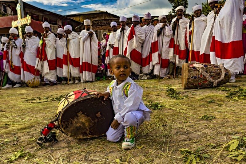 Meskel beröm, Lalibela, Etiopien arkivbild