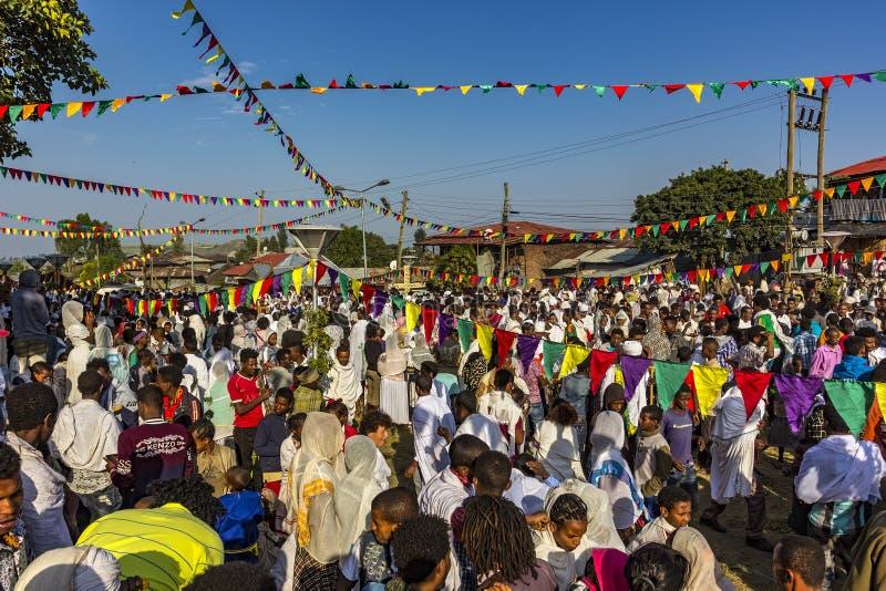 Meskel beröm, Lalibela, Etiopien royaltyfri bild