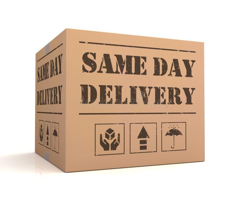 A mesma ilustração do conceito 3d da caixa de cartão da entrega do dia ilustração royalty free