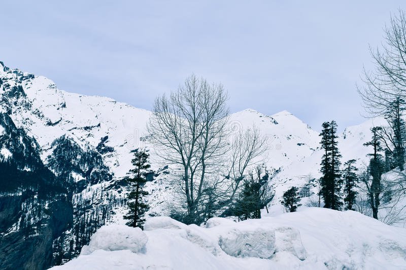 Mesmerizing beauty of Rohtang pass. Rohtang pass receives heavy snowfall during winter royalty free stock photos