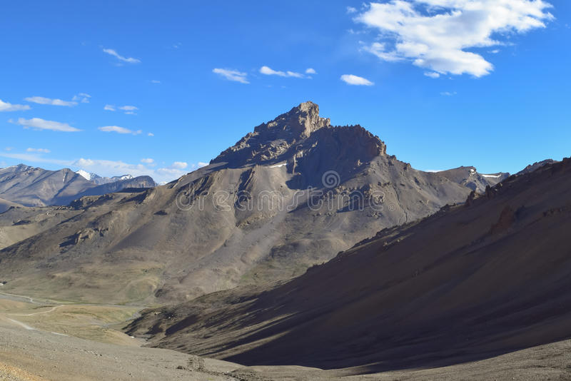 Mesmerizing dry landscape in Himalayan mountain region of Leh Ladakh. Leh Ladakh is a high altitude cold desert in Himalayan region. This kind of scenic stock photo