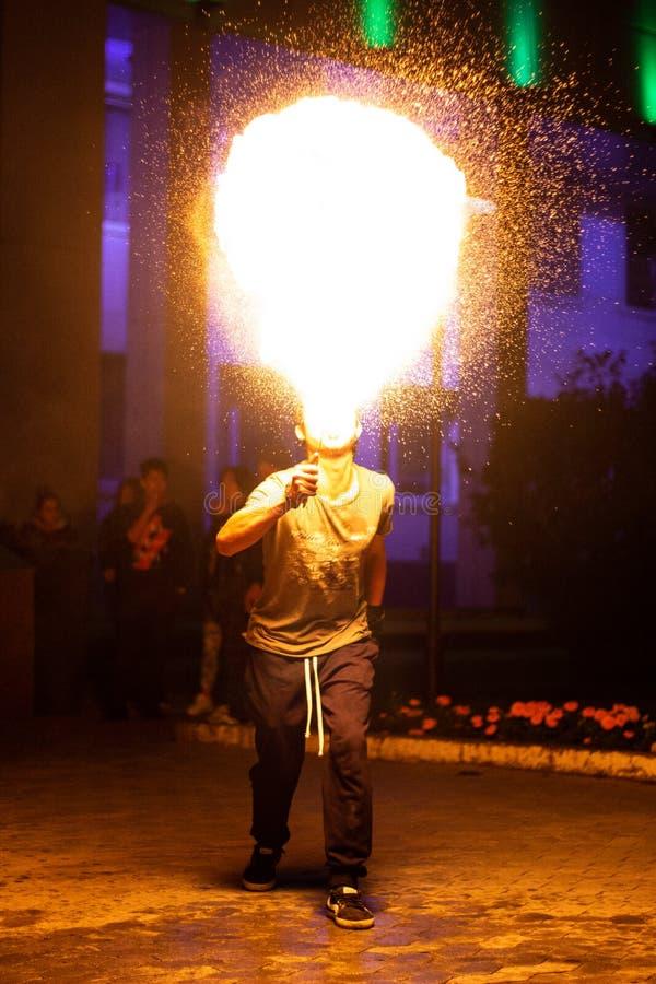 Mesmerizing fiery breath at night royalty free stock image
