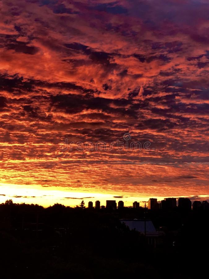 Mesmerizing gorgeous great view on  early morning  fiery sunrise in Toronto city, Ontario, Canada royalty free stock photography