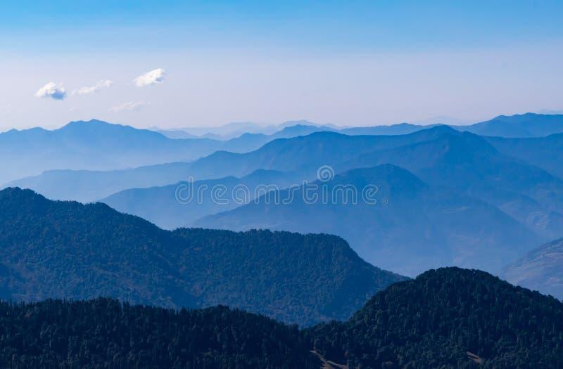 Mesmerizing landscape of moist decidous & coniferous forest in Kedarnath wildlife sanctuary from Deoria Tal trail in Uttrakhand. Kedarnath Wild Life Sanctuary a stock images