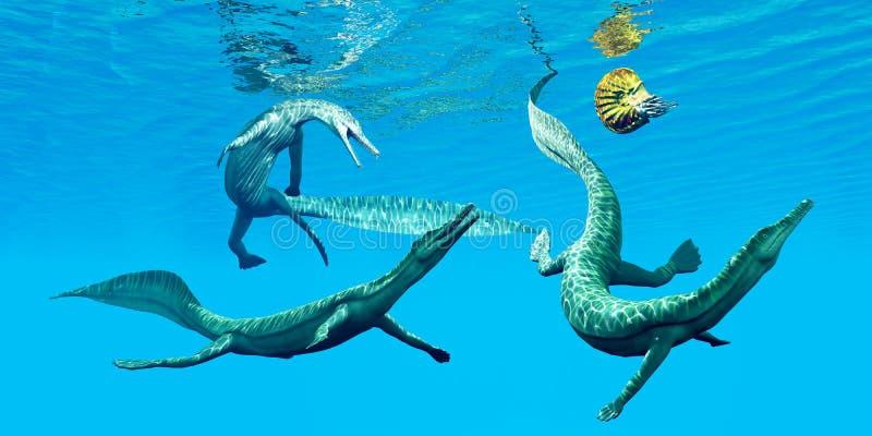 Mesosaurus Marine Reptiles ilustração stock
