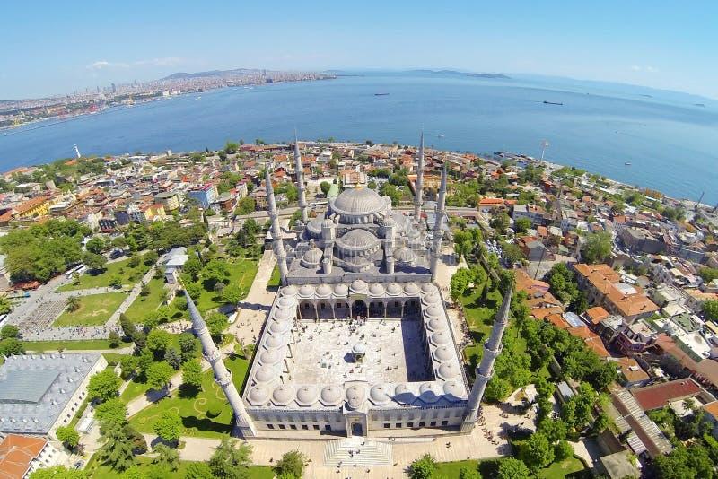 Mesquita azul em Istambul, Turquia, aérea imagem de stock royalty free