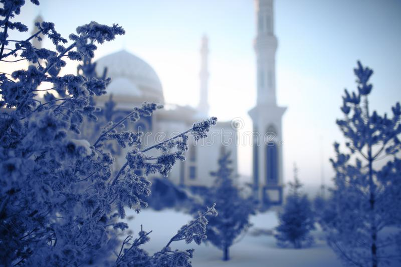 Mesquita branca na manhã do inverno e nas árvores cobertas com ho imagem de stock