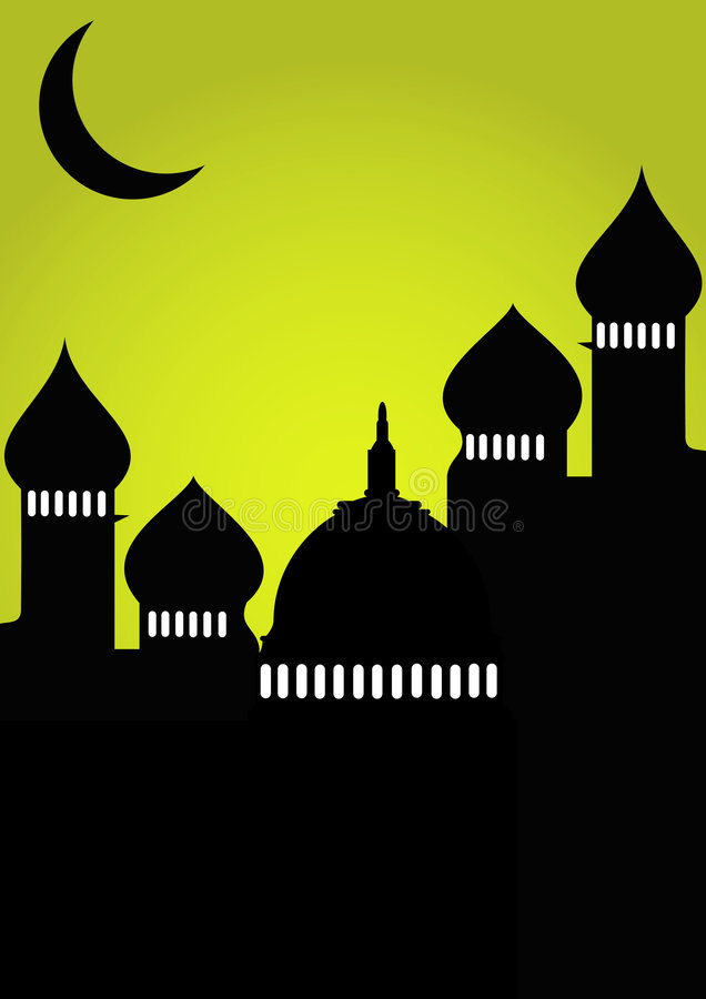 Mesquita com lua ilustração stock