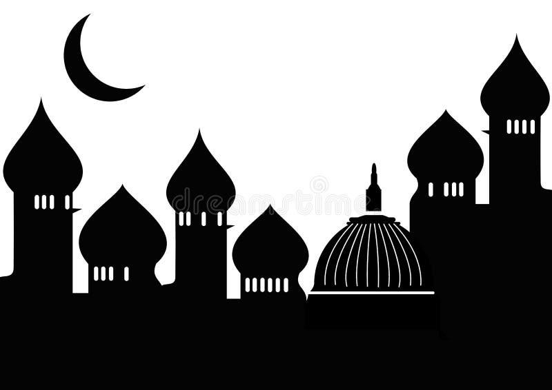 Mesquita com lua ilustração do vetor