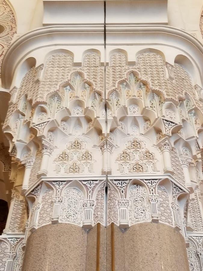 A mesquita de Hassan II - detalhes bonitos da arquitetura e da decoração foto de stock