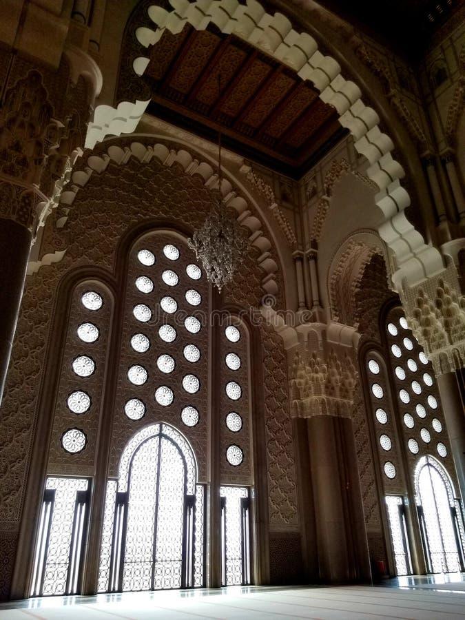 A mesquita de Hassan II - detalhes bonitos da arquitetura e da decoração fotos de stock royalty free