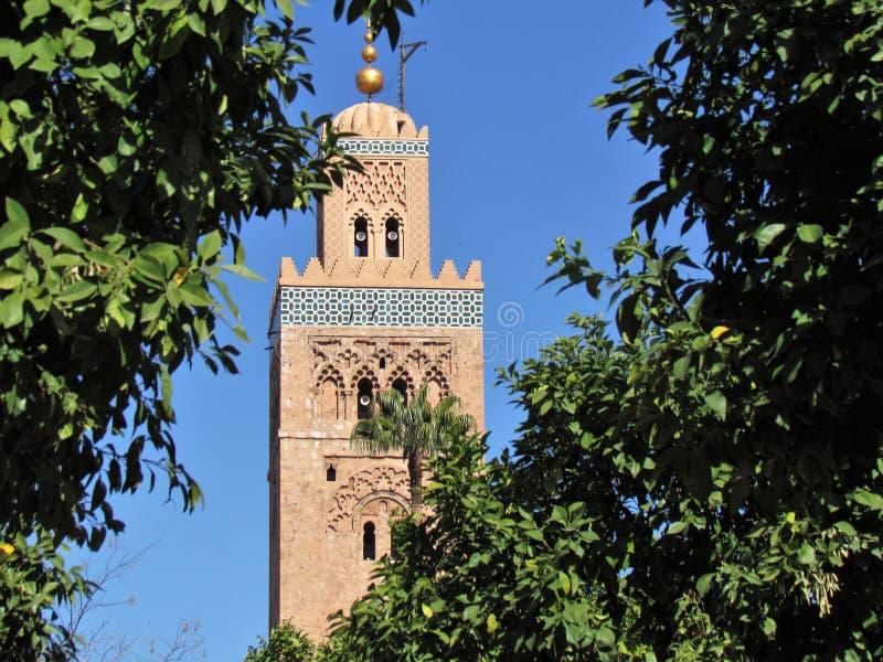 Mesquita de Koutoubia e seu minarete bonito em C4marraquexe Marrocos fotos de stock royalty free