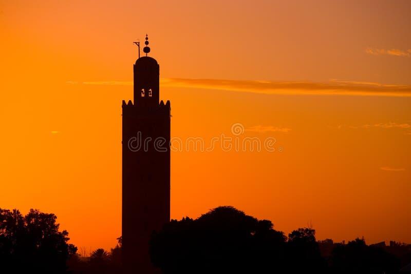 Mesquita de Koutoubia pelo por do sol foto de stock royalty free