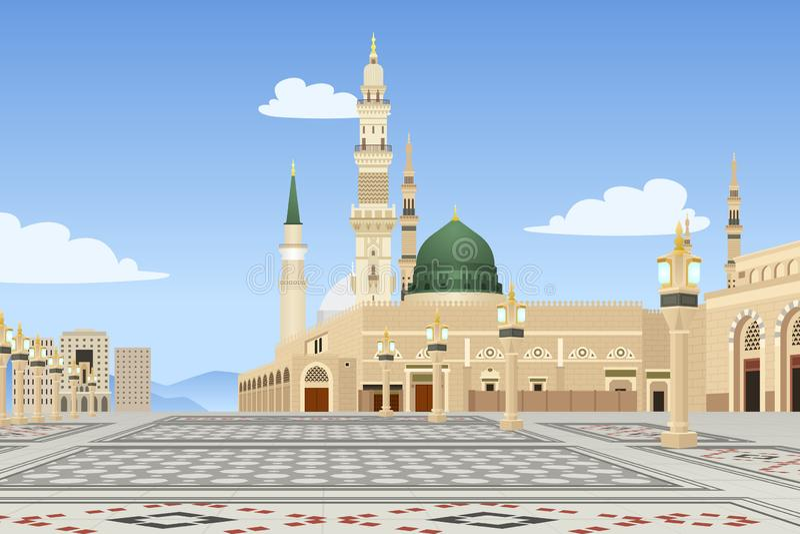 Mesquita de Medina na ilustração de Arábia Saudita ilustração stock