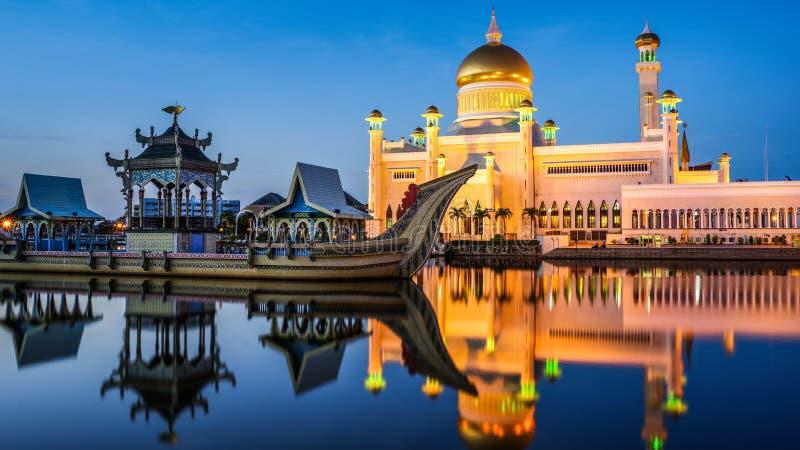 Mesquita de Omar Ali Saifuddien da sultão, Brunei fotografia de stock