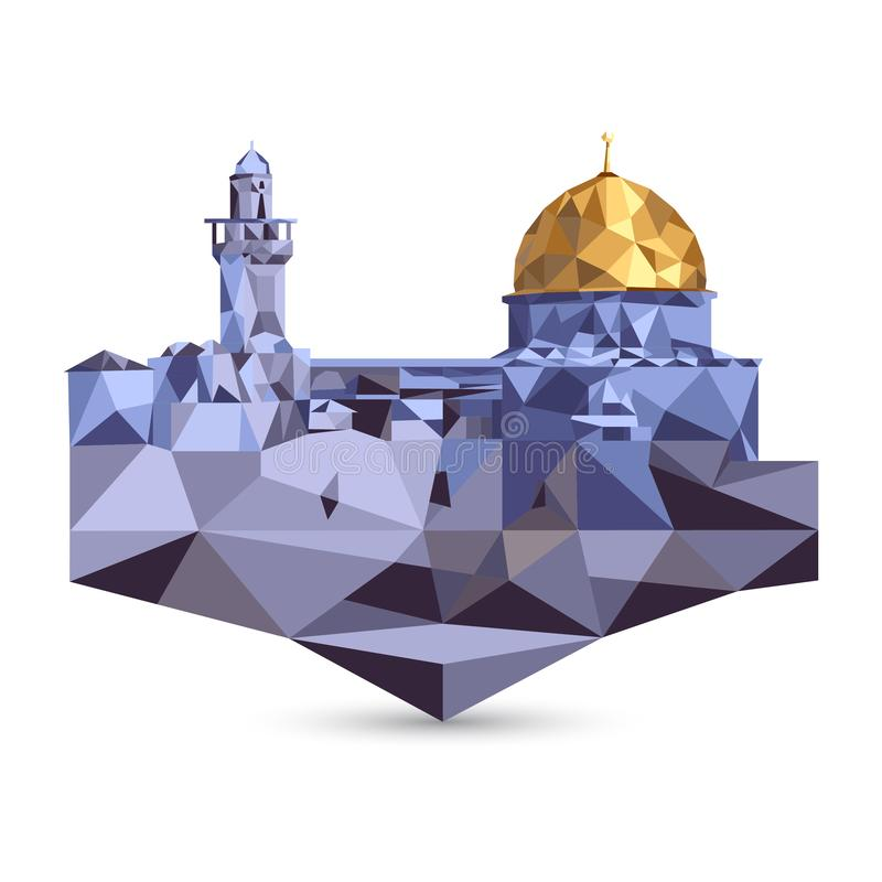 Mesquita do al-Aqsa e abóbada da rocha no Jerusalém, Israel Vetor do polígono ilustração royalty free