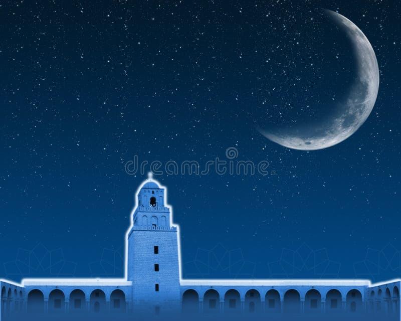 Mesquita do fundo de Ramadan e meia lua ilustração stock