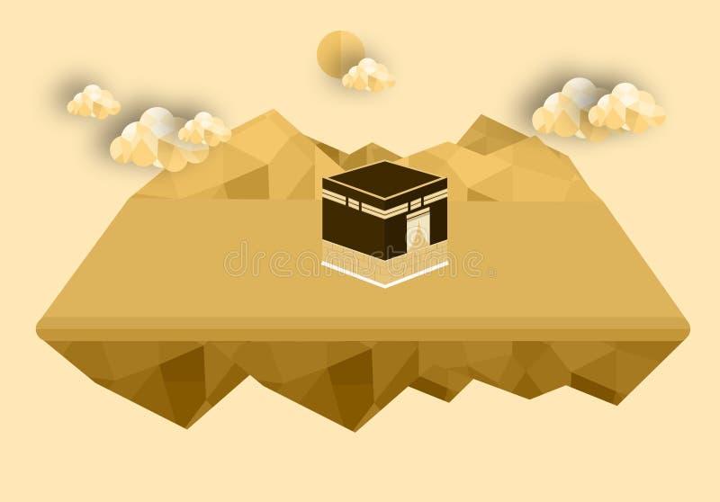 Mesquita do kaba da Meca - Arábia Saudita Green Dome do projeto de conceito liso islâmico do projeto liso de Muhammad do profeta ilustração royalty free