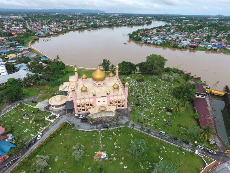 Mesquita do rosa de Kuching em Sarawak, Malásia foto de stock