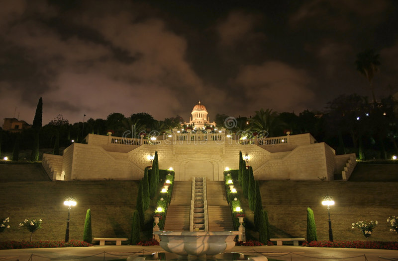 Mesquita e jardim de Haifa fotos de stock royalty free