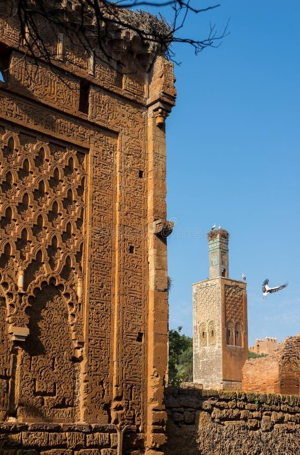 Mesquita e minarete arruinados da necrópolis de Chellah rabat marrocos foto de stock royalty free