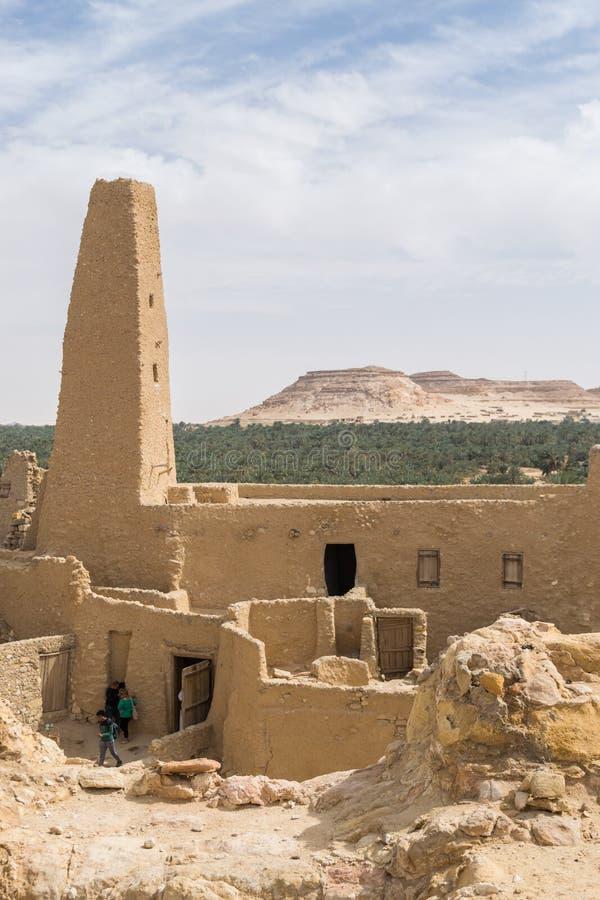 Mesquita em Aghurmi a cidade velha de oásis de Siwa em Egito imagem de stock