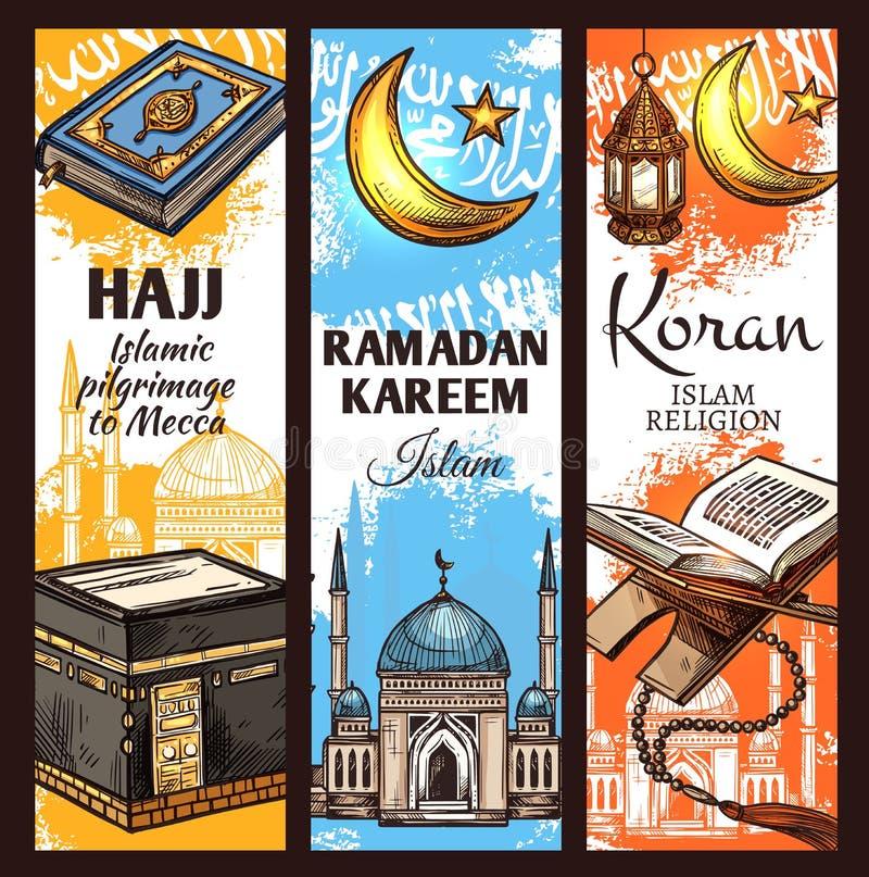 Mesquita muçulmana, lanterna da ramadã e Alcorão islâmico ilustração royalty free