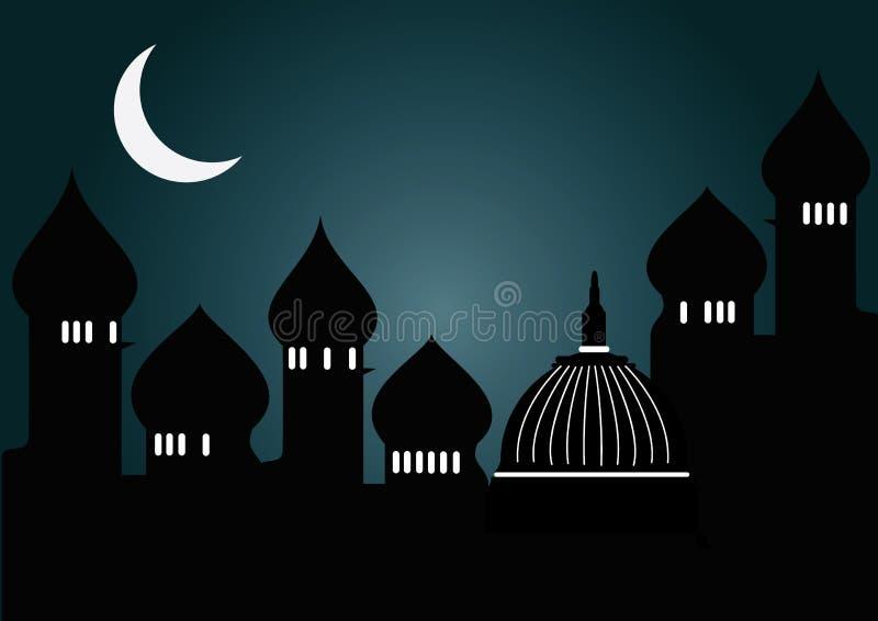 Mesquita na noite ilustração stock