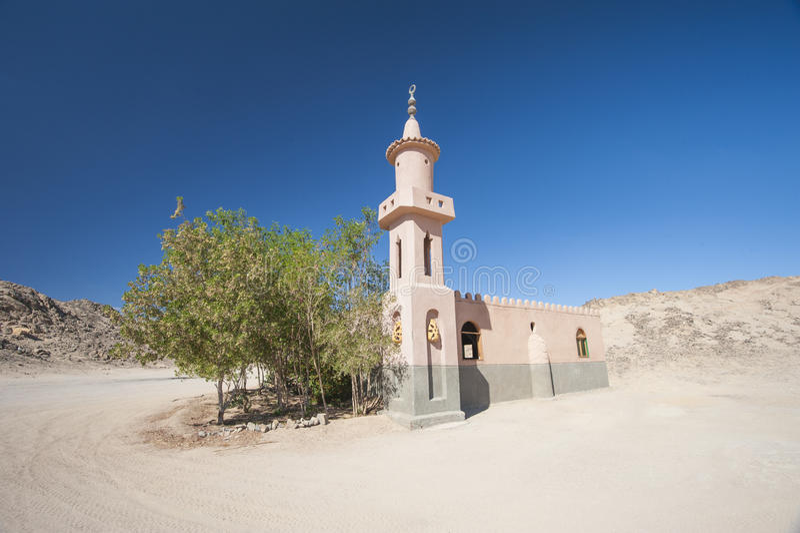 Mesquita na vila remota do egípcio do deserto imagem de stock royalty free