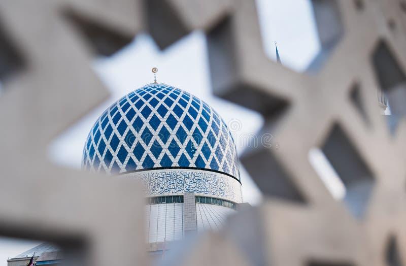 Mesquita Shah Alam Dome Blue Mesquita imagem de stock royalty free