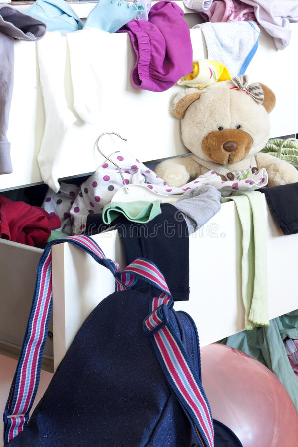 Mess of clothes in a drawer royalty free stock photography